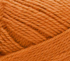 Swatch of Bernat Softee Baby yarn in shade pumpkin (dark orange)