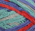 Calico Quilt (turquoise, red, blue) swatch of Bernat Baby Blanket Tiny