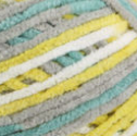 Leap Frog (yellow, turquoise, grey, white) swatch of Bernat Baby Blanket Tiny