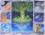 Full panel swatch tree panel (white, purple, and blue cloud look fabric with 3 medium square graphics on left and right of panel with large rectangular green celestial tree in the center. Other panels include galaxy skies, unicorns, mother nature like figures and moons. All with a dark blue, purple, orange, green colourway)