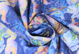 Swirled swatch unicorn lady fabric (dark blue marbled/water look fabric with light blue/purple duo tone unicorns with tossed tiny floral)