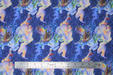 Flat swatch unicorn lady fabric (dark blue marbled/water look fabric with light blue/purple duo tone unicorns with tossed tiny floral)