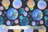 Flat swatch planets fabric (dark blue space sky background with tiny white star dots allover and tossed circular planets in various sizes and colours)