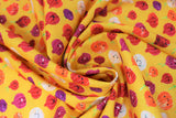 Swirled swatch onion fabric (mustard yellow fabric with cartoon onions with happy faces in various sizes and onion styles: red, white, purple, etc.)