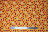 Flat swatch onion fabric (mustard yellow fabric with cartoon onions with happy faces in various sizes and onion styles: red, white, purple, etc.)