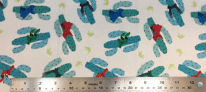 Group swatch cartoon cactus with scarves printed fabric in white and black
