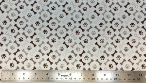 Group swatch paw prints and bones fabric in various colours