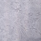Square swatch white paisley design printed on grey (light grey) fabric