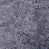 Square swatch white paisley design printed on charcoal (dark grey) fabric