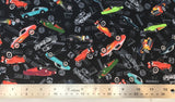 Flat swatch hot rod printed fabric in black