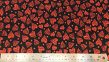 Flat swatch heart scribble printed fabric on black