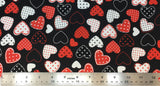Flat swatch hearts with polka dots printed fabric in black