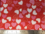 Flat swatch hearts with polka dots printed fabric in red