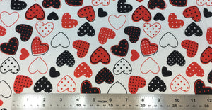 Group swatch hearts with polka dots printed fabric in various colours