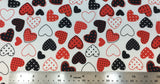 Flat swatch hearts with polka dots printed fabric in white