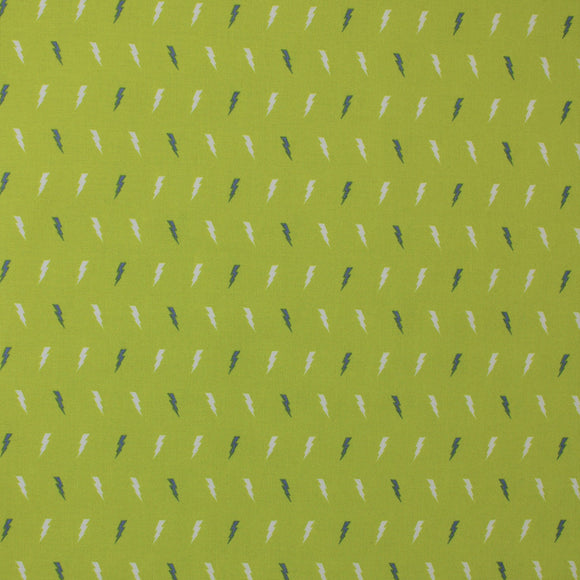Square swatch lightening bolts printed fabric (tiny white and grey tiled lightening bolts on lime green)