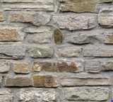 Square swatch fabric from Naturescapes collection in grey stonework (grey toned stone wall)