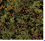 Square swatch fabric from Naturescapes collection in greenery (evergreen greenery with beige berries on black)