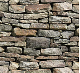 Square swatch fabric from Naturescapes collection in stone wall (grey tiled stones to create wall shape printed fabric)