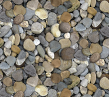 Square swatch fabric from Naturescapes collection in mixed pebbles (assorted size pebbles collage in grey and brown tones)