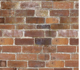 Square swatch fabric from Naturescapes collection in red bricks (old brick wall with chalky white grout lines)