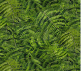 Square swatch fabric from Naturescapes collection in green ferns (greenery collage)