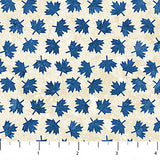 Square swatch Oh Canada themed printed fabric in Blue Maple leaves on beige