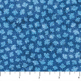 Square swatch Oh Canada themed printed fabric in Blue Maple leaves (blue on blue)