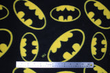 Flat swatch tossed logo fleece (black fabric with medium and large tossed yellow batman logos allover)