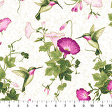 Square swatch hummingbird printed fabric in hummingbird glory (green hummingbirds and purple flowers on white)