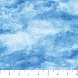 Square swatch Oh Canada themed printed fabric in Clouds (pale blue sky with white clouds)