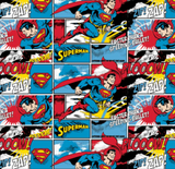 "Square swatch Superman themed fabric (comic book strip layout with white/blue/red/yellow/black comic book text ""Zap!"" etc. and Superman character in and on panes)"