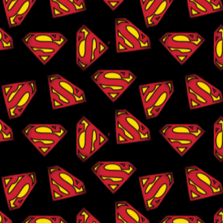 Square swatch Superman themed fabric (black fabric with tossed red/yellow S logo allover)