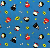 "Quilting cotton printed with simple, oversided-head cartoons of DC superheroes Superman, Flash, Wonder Woman and Batman scattered with clouds, moons, stars and ""BAM!"" on a blue background."