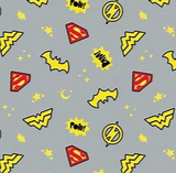 "Quilting cotton printed with superhero symbols for Batman, Superman, Wonder Woman and the Flash tossed with yellow moons, stars, and ""POW!"" on a light grey background. Yellow and red symbols outlined in black."