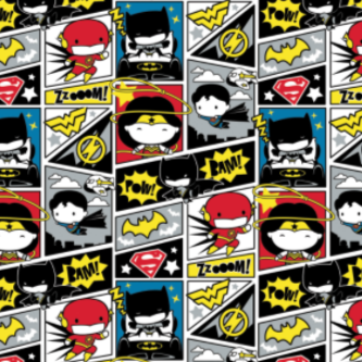 Quilting cotton printed with DC superheroes in a simplified comic book style.  Superman, Batman, Wonder Woman and the Flash in dynamic scenes with oversized heads and small, simple facial features.  Primarily black, white, red and yellow with occasional blue.