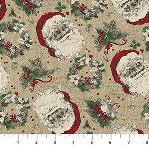 Group swatch vintage Christmas printed fabrics in various styles