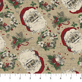 Square swatch vintage Christmas printed fabric in santas on beige (santa heads and wreaths)