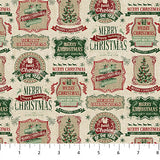 Square swatch vintage Christmas printed fabric in red and green Christmas tags on beige