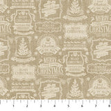Square swatch vintage Christmas printed fabric in beige Christmas tags on beige