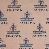 Square swatch Friends fountain cotton flannel fabric