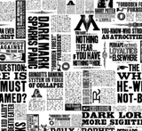 "Swatch of Harry Potter themed quilting cotton fabric. Black and white newspaper clippings arranged at right angles to each other with headlines such as ""DARK MARK SPARKS PANIC"", ""GRINGOTTS BANKING SYSTEM ON VERGE OF COLLAPSE"" ""YOU HAVE NOTHING TO FEAR IF YOU HAVE NOTHING TO HIDE"", ""DARK LORD MORE SIGHTINGS"", and includes occasional vintage-style ads for items such as wands."