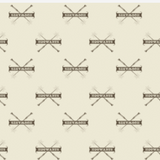 "Swatch of Harry Potter themed quilting cotton fabric. Rows of a repeated motif, first row right side up, next row upside down. The dark taupe motif on ivory background features a narrow banner reading ""HOGWARTS"" over a pair of crossed wands."