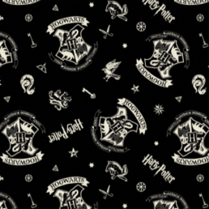 "Swatch of Harry Potter themed quilting cotton fabric.  White Hogwarts crests, keys, stars, and ""Harry Potter"" tossed on a black background."
