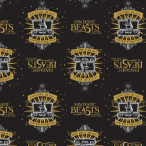 "Licensed quilting cotton for Fantastic Beasts and Where to Find Them.  Top row features the film title in yellow alternating with the crest for the movie - a white hand with a wand extending from a white open suit case over a yellow star burst with a yellow banner above reading ""Fantastic Beasts"" and one below reading ""And Where To Find Them"".  The second row is off-set by a motif and upside down compared to the top row.  The two rows repeat over a black background."