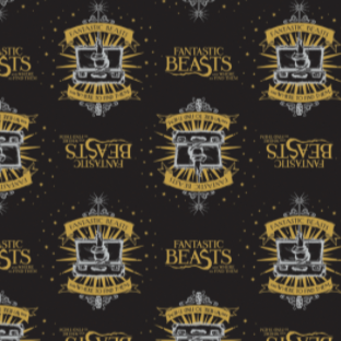 Licensed quilting cotton for Fantastic Beasts and Where to Find Them.  Top row features the film title in yellow alternating with the crest for the movie - a white hand with a wand extending from a white open suit case over a yellow star burst with a yellow banner above reading