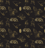 "Licensed quilting cotton for ""Fantastic Beasts And Where To Find Them"".  The movie title is scattered among line drawings of some of the beasts featured in the film, all in gold over a black background.  Creatures include the niffler, thunderbird, erumphant, and bowtruckle."