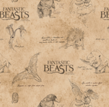 "Licensed quilting cotton for ""Fantastic Beasts and Where To Find Them"". Film title interspersed with line drawings of a number of the beasts from the film along with scribbled notes, all in a black ink on a tan, parchment-like background.  The print resembles an explorer's notebook and includes beasts such as the niffler, erumphant, and thunderbird."