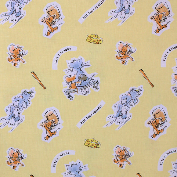 Square swatch Tom & Jerry fabric (yellow fabric with tossed cartoon characters with white backgrounds, assorted cat and mouse poses, cheese slices, bats,