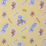 "Square swatch Tom & Jerry fabric (yellow fabric with tossed cartoon characters with white backgrounds, assorted cat and mouse poses, cheese slices, bats, ""Best Foes Forever"" text, etc.)"